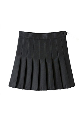 Donna Elegante Alto Vita Piegata Carino Scuola Una Linea Mini Gonna Black