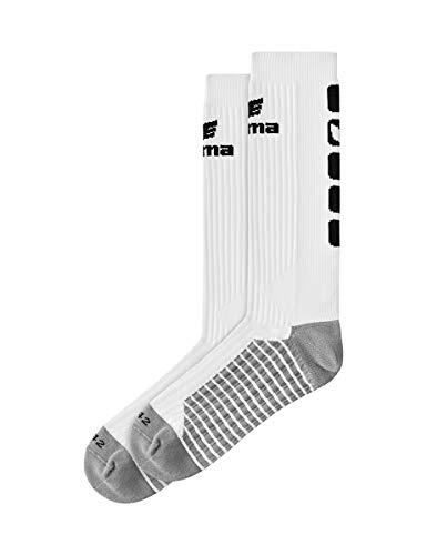 Erima Erwachsene Classic 5-C Socken lang, weiß/Schwarz, 43-46