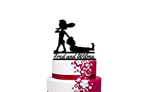 Tortenaufsatz, Motiv: Caveman und Cavewoman für Hochzeitstorte, personalisierbar mit Ihrem Namen oder Spruch (Caveman Cavewoman Und)