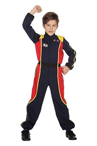 Kostüm Overall Racing - The Fantasy Tailors Rennfahrer-Kostüm Kinder Jungen Overall Schwarz Racing Formel 1 Formula 1 Renn-Anzug Karneval Fasching Hochwertige Verkleidung Fastnacht Größe 128 Dunkelblau