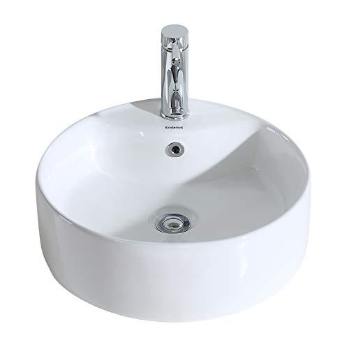 Eridanus serie scott-b, lavabo di ceramica bianco lusso lavandino lavello lavamano lavabo da appoggio tondo ovale bacinella lavandino lavello per bagno casa bidet lavabo con troppopieno