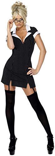 Disfraz de secretaria, con vestido, gafas y ligas Color negro