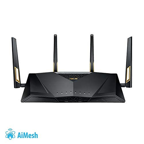 Asus RT-AX88U Gaming Router (Ai Mesh WLAN System, WiFi 6 AX6000, Gaming Engine, 8x Gigabit LAN Link Aggregation, 1.8 GHz QC CPU, AiProtection, USB 3.0)