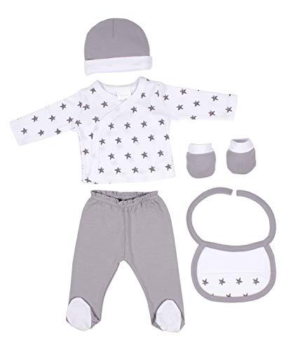 DIKOS Baby Erstausstattung unisex Junge Mädchen Neugeborenen Set Jungen Erstlingsausstattung Ausstattung Kleidung Baby Geschenke Geburt Babykleidung Neugeboren Sterne grau Babyausstattung - Unisex Set