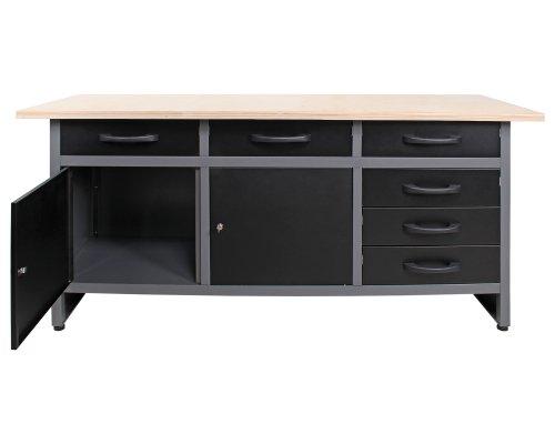 Ondis24 4250627025733 Werkbank, Metall, schwarz / grau, 170 x 60 x 85 cm - 2
