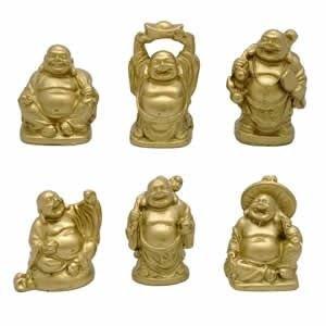 Laughing Buddha Statue (1 Mini 2,54 cm, alto, Set da 6, motivo: Fantasia orientale - Laughing Buddha