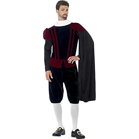 Smiffy's - Disfraz deluxe de Tudor Señor, color negro (43418L)