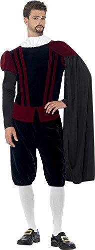 Smiffy's 43418M - Tudor Herr Deluxe Kostüm Top-Hose Cape und Ausschnitt mit (Tudor Kostüme)