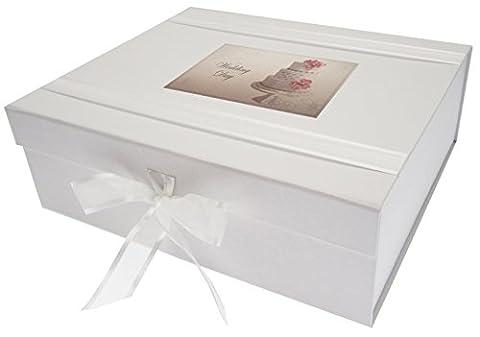 White Cotton Cards Boîte souvenir Vintage Gâteau de mariage, bois, blanc, Taille L