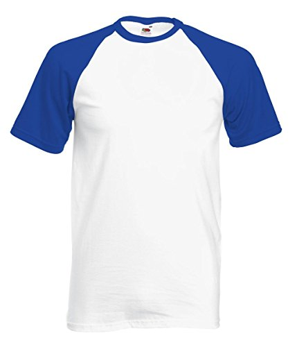 Fruit of the Loom Herren T-Shirt Baseball T, 2er Pack White/Royal