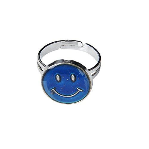 Whyyudan Mode Dekoration Ornament Smiley Face Einstellbare Ring Farbwechsel Stimmung Ring Emotion Gefühl Ring
