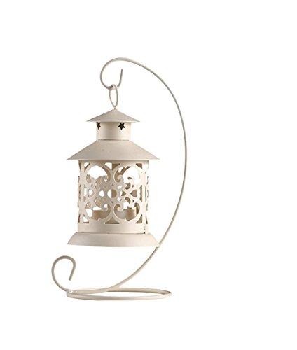 Soporte hueco para velas Zedtom, de hierro, estilo clásico, romántico para bodas, decoración del hogar, como regalo, Blanco, 13x21cm