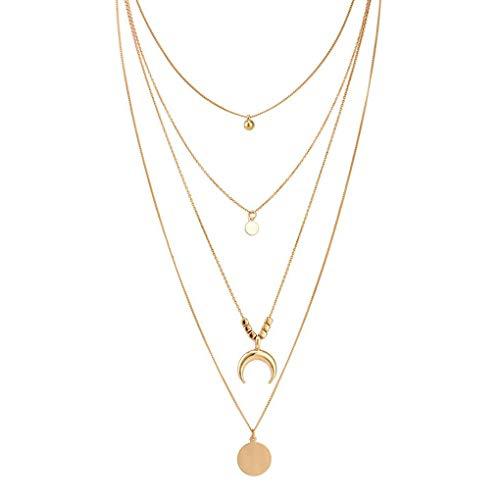 Kakiyi Retro Donna Oro Layered collane Personalizzata Simple Girl di Stile a Lunga Catena dei Bohemien Ciondolo Geometrica Girocollo Set