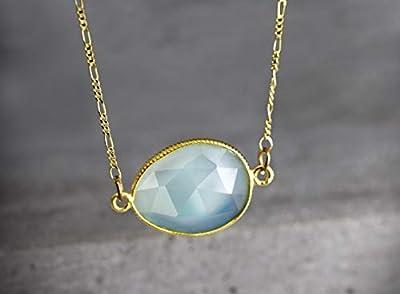 Collier aigue-marine, plaqué or 925/18 carats