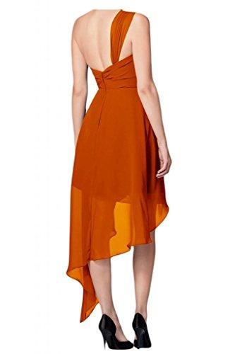 TOSKANA BRAUT Einfach Damen Ein-Schulter Hi-Lo Abendkleider Chiffon Brautjungfern Party Sommerkleider Orange