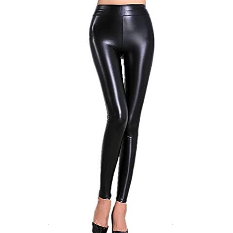 Sexy Frauen Faux PU Leder Elastische Skinny Leggings Hosen (EU M/Asia XL)