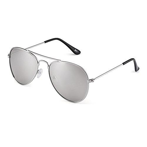Kinder Spiegel Flieger Sonnenbrille Blitz Getönt Kind Brille Gläser Mädchen Jungen Alter 3-12(Silber/Spiegel Silber)