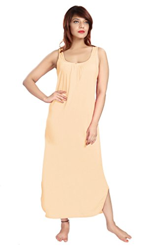 100% Cotton Women's Regular Fit Nighty Gown Slip in Beige Color With Broad Strapes & Round Neck Night Inner Wear in Size M by City Girl PLUS  available at amazon for Rs.325