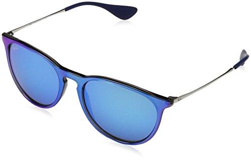 RAYBAN JUNIOR Unisex-Erwachsene Sonnenbrille Erika Grey Mirror Flash Blu/Lightgreenmirrorblue, 54