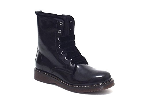 Twin Set scarpe bambina ragazza, HA58BF, anfibio in pelle spazzolata, colore nero