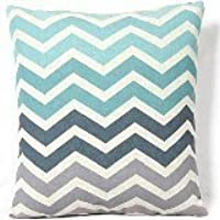 Vanki Chevron A Righe Stile Cotone Lino Decorativo Quadrato Throw Pillow Cover cuscino 45,7 x 45,7 cm, Verde e Fade Grigio Stripe Pattern