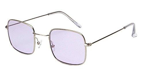 Bozevon retrò uv400 donna & uomo rettangolari occhiali da sole occhialoni metallo telaio, argento(telaio)-viola(lenti)