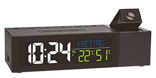 TFA Dostmann Show 60.5014.01 Funk-Projektionsuhr mit Raumklima (schwarz mit Batterien)