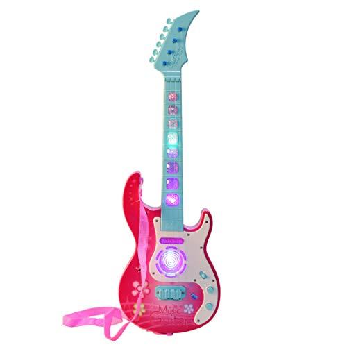 MRKE Guitarra Electrica Niños 53cm 4 Cuerdas Rock Juguete de Instrumentos Musicales Guitarra Regalo con LED Luces para Infantil Niño y Niña 3-8 Años