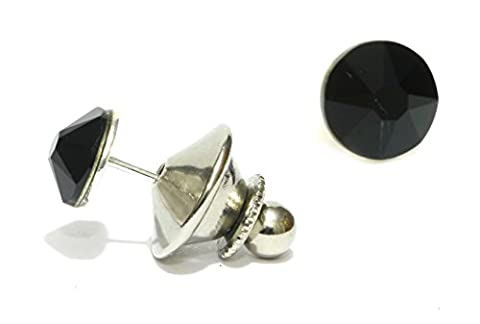 Men's Stainless Steel 7mm Crystal Tie Tack Pin Made with SWAROVSKI ELEMENTS Over 60 Colours (Jet
