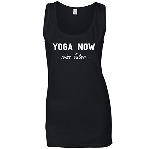 Tim And Ted Yoga Now Wine Later Fitness Slogan Fit Keep Healthy Drink Alcohol Red White Rosé Glass Evening Relax Stretch Womens Ladies Vest Cool Funny Gift Present