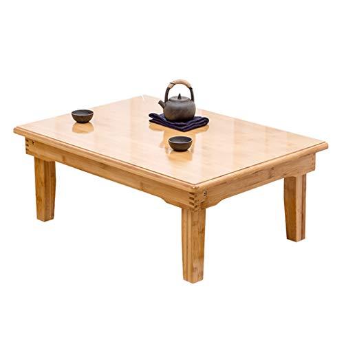 Meng Wei Shop Couchtische Faltbarer Couchtisch Kleiner Bambus-Tisch Niedriger Tisch Mini-Couchtisch Balkontisch Studiertisch Laptoptisch Esstisch (Color : Wood Color, Size : 80x60x42cm)