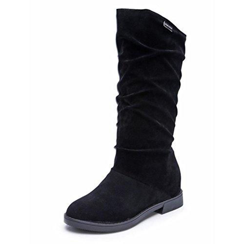 Stiefel Damen Stiefeletten Damen Sannysis Herbst Winter Stiefel Frauen Sweet Boot stilvolle flache Flock Schuhe Schnee Stiefel (Schwarz, 38) (Slouchy Schnalle Wildleder Stiefel)