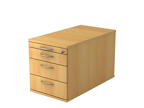 Rollcontainer DR-Büro - 42,8 x 80 x 51,2 - Roll Container in 6 Farben - 3 Schubladen - abschließbar, Farbe Büromöbel:Buche -
