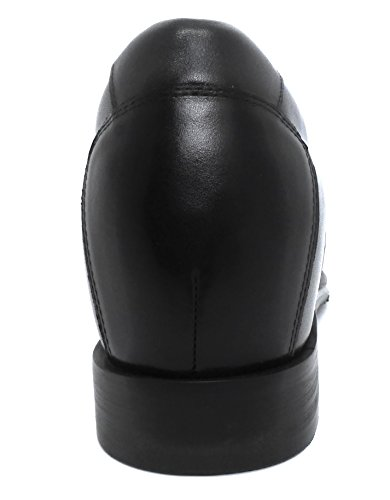 ZERIMAR Chaussures réhaussantes intérieur pour messieurs Augmentation + 6,5 cm Cuir cuir, respirant, confortable Noir