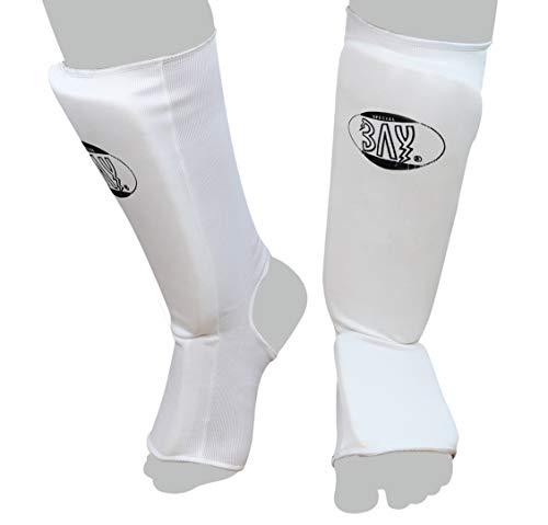 BAY MT Cotton Weiss M Spann-Schienbeinschutz Baumwolle Elastik Stoff, Muay Thai, TKD, Thaiboxen weiß, Größe M
