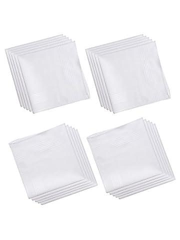 Mouchoirs blancs pour homme et femme en tissu 100% Coton
