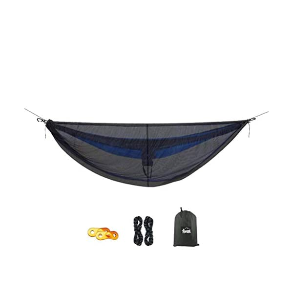 LIOOBO 1Set Camping Hammock with Mosquito Net Lightweight Adjustable Net Hammock Bug Hammock Mosquito Hammock for Backpacking Beach LIOOBO Great Gifts: adults, couples, travelers, couples with kids, beachers, campers - everyone says they enjoy it! A great gift for travel, camping, yard You can also quickly store the hammock and parts in the bag quickly. The camping hammock compacts to a backpack friendly, portable size for your convenience. Has built-in ultralight, waterproof compression stuff-sack, with a 2-sided buckle design that wonâ€t drag in the dirt while you hang. 1