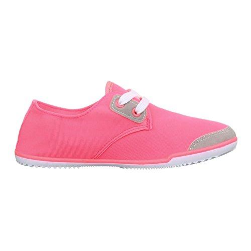 Ital-Design Schnürer Damenschuhe Oxford Schnürer Schnürsenkel Halbschuhe Pink