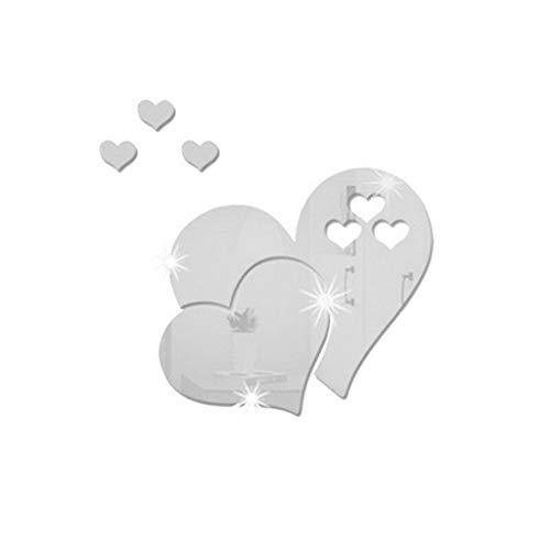 Zegeey 3D Spiegel Wandaufkleber Herzförmige Kunst Aufkleber Abnehmbare Wohnzimmer Wohnkultur