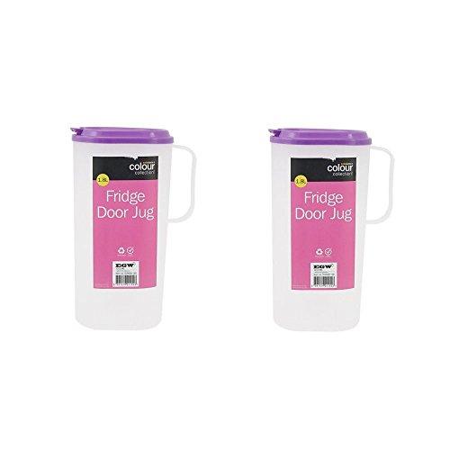Preisvergleich Produktbild Ardisle 2x Kunststoffkrug,  passend für jede Kühlschranktür 1, 8L Milch Saft Wasser Getränke
