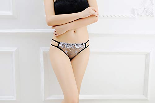 Ksks Women Lace Sexy Thongs Low Rise Soft Bikini Panties 3 Pack,White Lady Classic Thong