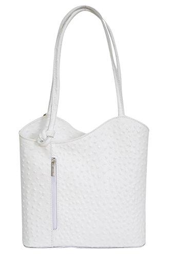 AMBRA Moda Damen Handtasche Lederrucksack Rucksacktasche Backpack 2in1 Rucksack Schultertasche SL703 (Weiß)