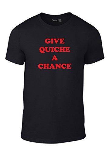 Give Quiche A Chance, Erwachsene Mode T-Shirt, Schwarz/Rot, M-96-101cm (T-shirt Fitted Chance)