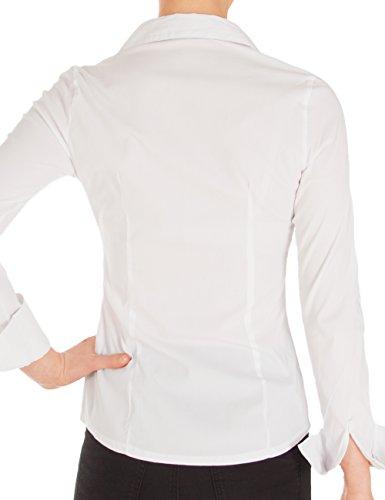 Fraternel Damen Bluse Hemd Slim Fit Stretch Weiß