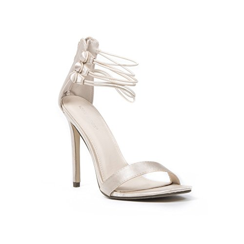Ideal Shoes Sandales en Satin à Brides Multiples Soraya Beige