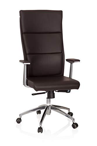 hjh OFFICE 600430 Chefsessel MONZA 20 Leder Braun Bürostuhl Bürosessel gepolstert, hohe Rückenlehne
