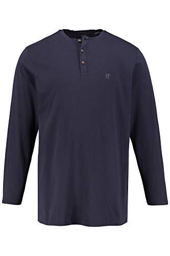 Baumwolle Langarm Henley Shirt (JP 1880 Herren große Größen bis 8XL, Langarm-Shirt, Henley, Oberteil mit Knopfleiste, Rundhalsausschnitt, Reine Baumwolle Navy 4XL 702555 76-4XL)