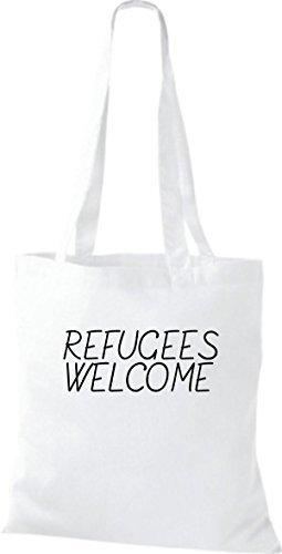 ShirtInStyle Stoff-beutel Baumwolltasche refugees welcome, Flüchtlinge, Bleiberecht, Farbe Pink weiss