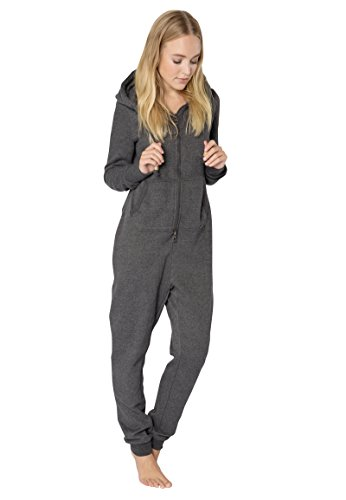 Eight2Nine Damen Sweat Overall | Kuscheliger Jumpsuit | Einteiler aus bequemen Sweat-Material einfarbig dark-grey1 L/XL