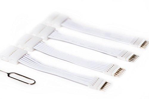 6-Polige zu Cut-End Verlängerungskabel für Philips Hue Lightstrip Plus (50 mm, 4 Packung, Weiß) Cut Snap